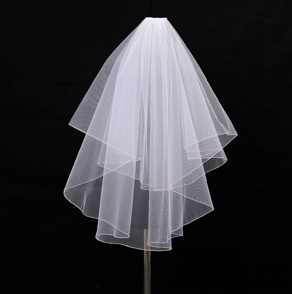 Bridal Veils Two Layers White Ivory Tulle With Comb